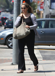 Elizabeth Berkley was spotted running errands and carrying a large canvas tote.