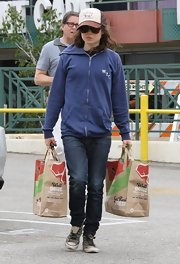Ellen Page stepped out in a casual ensemble when she wore this blue zip up hoodie and jeans.