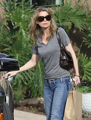 Ellen Pompeo kept thinks simple in a gray V-neck and flared jeans.