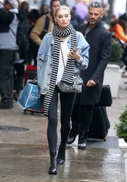 Elsa Hosk was spotted out in New York City sporting an oversized denim jacket and black leggings.