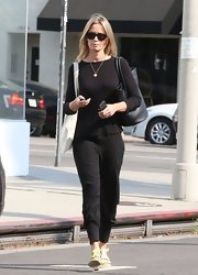 Emily Blunt chose an all-black look when she paired this black top with black pants while out in Melrose.