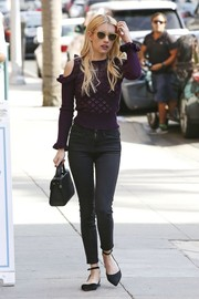 Emma Roberts finished off her comfy ensemble with pointy black flats by Matt Bernson.