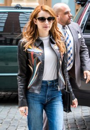 Emma Roberts stepped out in New York City wearing chic oversized sunnies by Tory Burch.