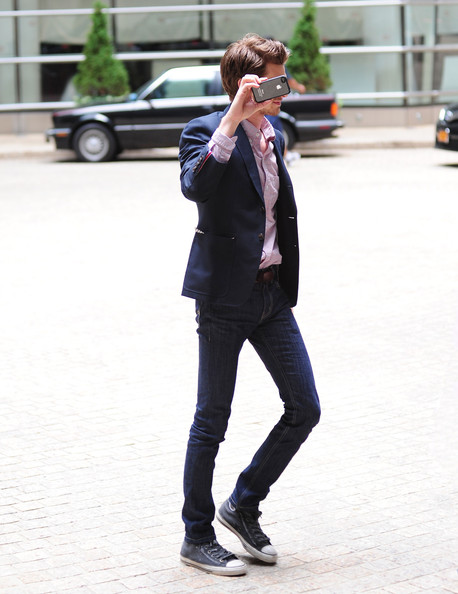 Andrew Garfield showed off his lanky legs in these skinny jeans while out in NYC.
