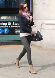 Eva Amurri Martino stepped out in NYC wearing a pair of taupe suede ankle boots.