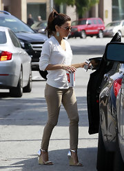 Eva Longoria was out in Beverly Hills wearing a pair of fab wedges featuring metallic silver details.