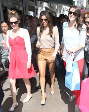 Eva caused quite a stir in Cannes wearing these tiny brown leather shorts!