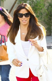 Eva Longoria was spotted outside Ken Paves Salon looking chic in her cateye sunnies.