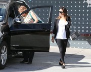 Eva Longoria grabbed breakfast in Hollywood carrying a monochrome tweed shoulder bag.