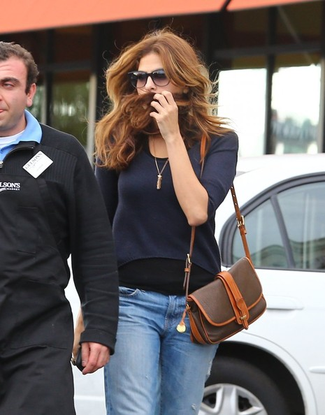 Eva Mendes Leather Shoulder Bag
