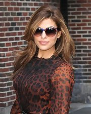 Eva Mendes added a touch of playful fun to her sophisticated look with these print sunglasses.