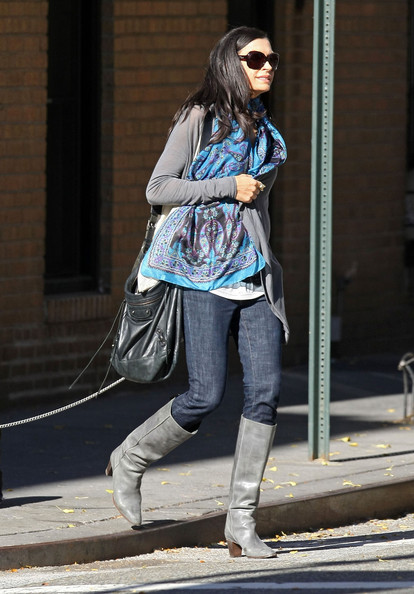 Famke Janssen Tasseled Shoulder Bag