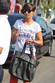 Frankie Sandfor chose a classic tee with funky Ouija-board lettering for her casual daytime look while out in LA.