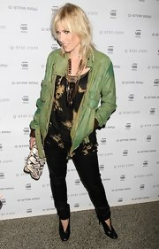 Natasha Bedingfield slipped on an edgy pair of black leather pumps for the G-Star Raw fall 2012 fashion show.