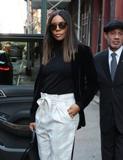 Gabrielle Union was stylish in cateye sunglasses and a velvet blazer while out in New York City.