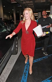 Melissa Joan Hart was out and about in LA in a rich red jersey long sleeve cocktail dress with beaded accent on the bodice.