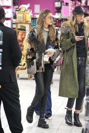 Gigi Hadid shopped in luxurious style wearing a Blumarine patchwork fur jacket.