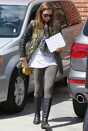 Jessica Alba wore this foral scarf with her casual ensemble to attend Jessica Simpson's baby shower.