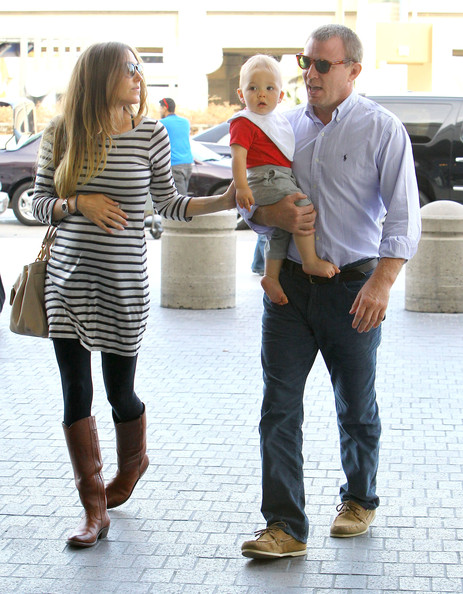 Engaged Guy Ritchie And Family Departing On A Flight At LAX