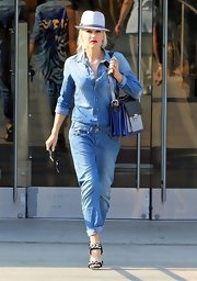 Gwen Stefani pulled off denim on denim like a true star when she wore this denim work jumpsuit.