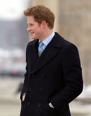 We caught a glimpse of Prince Harry's baby blue basketweave tie during his visit to Berlin.