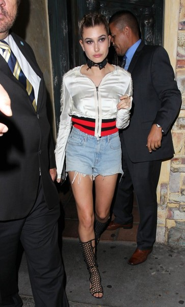 Hailey Bieber Jean Shorts [clothing,leg,thigh,fashion,tights,footwear,outerwear,joint,human leg,fashion accessory,shorts,celebrities,fashion,celebrity,tv personality,restaurant,west hollywood,california,el compadre,party,hailey rhode bieber,justin bieber,fashion,celebrity,tv personality,shorts,jean shorts,leather jacket,model,jeans]
