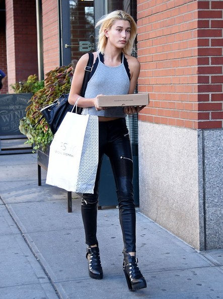 Hailey Bieber Leather Pants [clothing,street fashion,leather,footwear,fashion,knee-high boot,shoulder,beauty,knee,snapshot,kendall jenner,hailey baldwin,head,texting,silence,photography,new york city,mercer kitchen,lunch,events,jeans,denim,hailey rhode bieber,electric blue m,lebanon,leggings m,photography,tights,photograph]