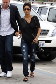 Halle wore a classic pair of torn blue jeans out in LA.