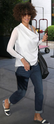 Halle Berry mastered elegant comfort with this languid off-the-shoulder top.