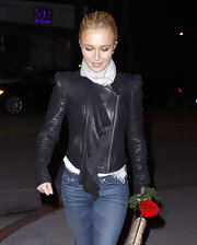 Hayden Panettiere added a bit of edge to her look with a zip-up leather jacket complete with a draped ruffle.