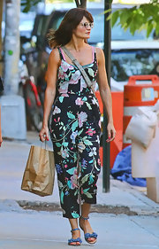 Helena Christensen stepped out for an afternoon of shopping wearing a pair of blue sandals with bow details.