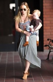 Hilary Duff's print maxi dress gave her the cool California hippie-vibe while out with son Luca.