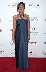 Laila Ali showed off her long maxi dress while hitting an LA red carpet.