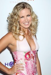Kerri paired her long curls with a pink halter dress.