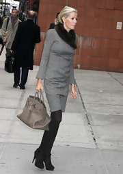 Aviva Drescher looked professional in NYC wearing a demure gray double-breasted dress.