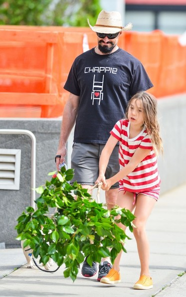 Hugh Jackman & Daughter Ava Walk Their Dog In NYC