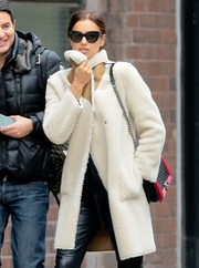 Irina Shayk headed out in New York City looking cute in her cateye sunnies.