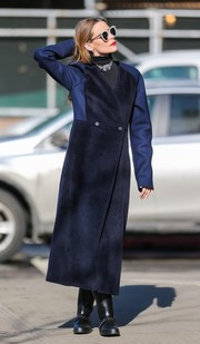 Jaime King headed out in New York wearing a double-breasted coat in two shades of blue.