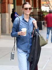 Jaime King headed out in New York City rocking oversized square shades.