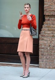 Jaime King was retro-chic on the streets of New York in a peach A-line skirt.