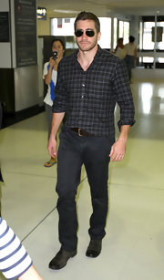 Jake makes plaid look chic with this casual ensemble.