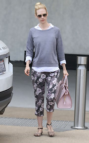 January Jones jumped in on the floral pant trend wearing this darling capris.