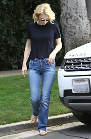 January Jones' classic fit jeans topped off her 'girl-next-door look.'