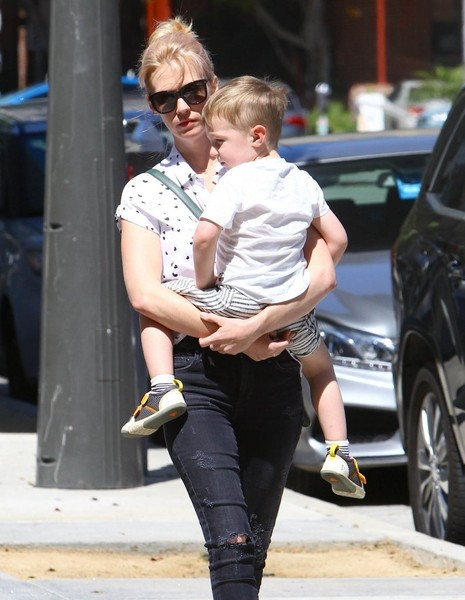 January Jones Lunches In Santa Monica With Her Son