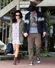 "For a day out with wife Jenna Dewan, Channing Tatum wore a playful ""One Trick Pony"" t-shirt."
