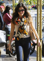 "Jenna Dewan-Tatum wore her ""Orange Multi Diamonds"" colorful patterned scarf while out to lunch."