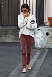 Jenna Dewan-Tatum kept cozy in cuffed mauve corduroys and a slouchy knit sweater.