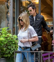 Jennifer Aniston showed off an on-trend Gucci GG leather belt.