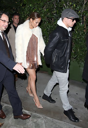 J.Lo accessorized her sparkling look with nude embellished stilettos.