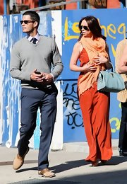 Jennifer Love Hewitt chose a burnt orange maxi for her look while out with cast mate, Brian Hallisay.